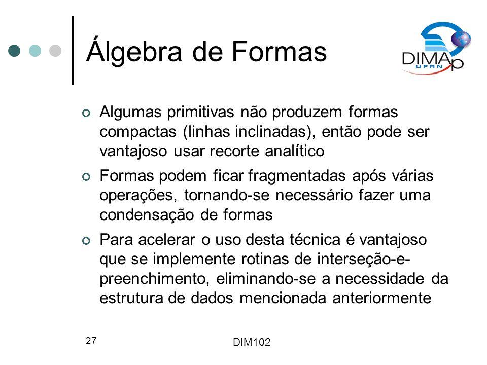 Álgebra de Formas Algumas primitivas não produzem formas compactas (linhas inclinadas), então pode ser vantajoso usar recorte analítico.