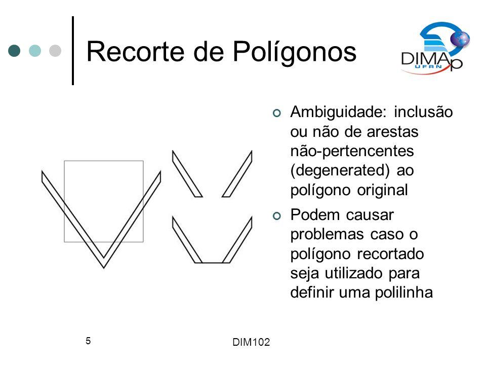 Recorte de Polígonos Ambiguidade: inclusão ou não de arestas não-pertencentes (degenerated) ao polígono original.