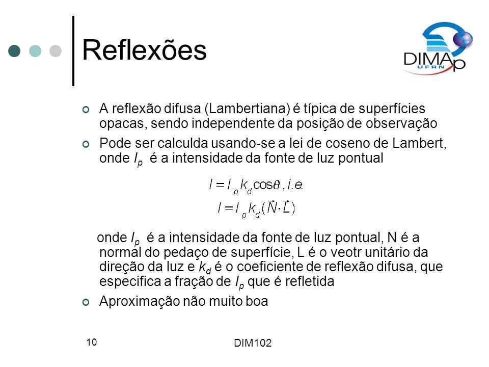 Reflexões A reflexão difusa (Lambertiana) é típica de superfícies opacas, sendo independente da posição de observação.