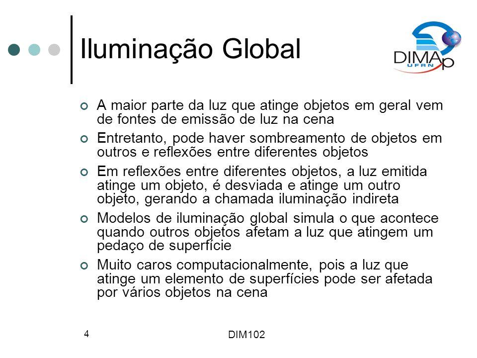 Iluminação Global A maior parte da luz que atinge objetos em geral vem de fontes de emissão de luz na cena.