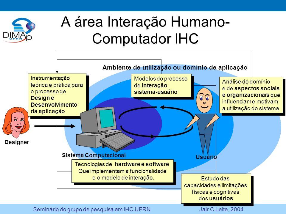 A área Interação Humano-Computador IHC
