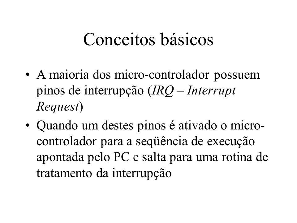 Conceitos básicos A maioria dos micro-controlador possuem pinos de interrupção (IRQ – Interrupt Request)