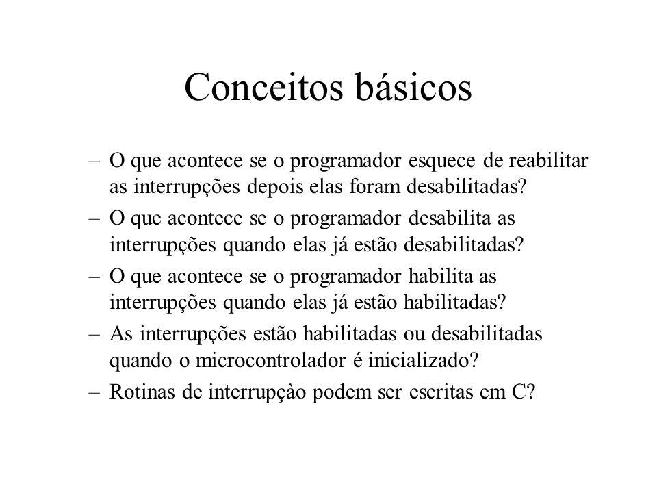 Conceitos básicos O que acontece se o programador esquece de reabilitar as interrupções depois elas foram desabilitadas