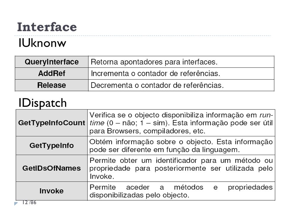 Interface IUknonw IDispatch 12