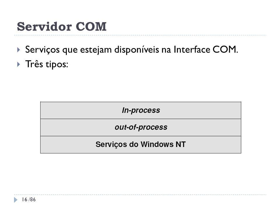 Servidor COM Serviços que estejam disponíveis na Interface COM.