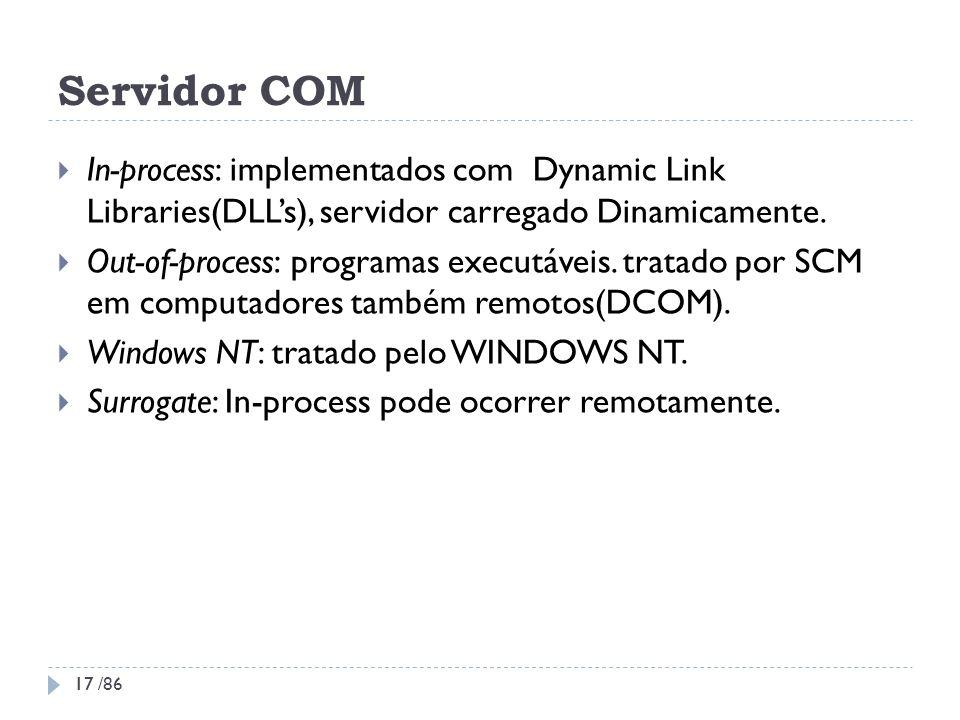 Servidor COMIn-process: implementados com Dynamic Link Libraries(DLL's), servidor carregado Dinamicamente.