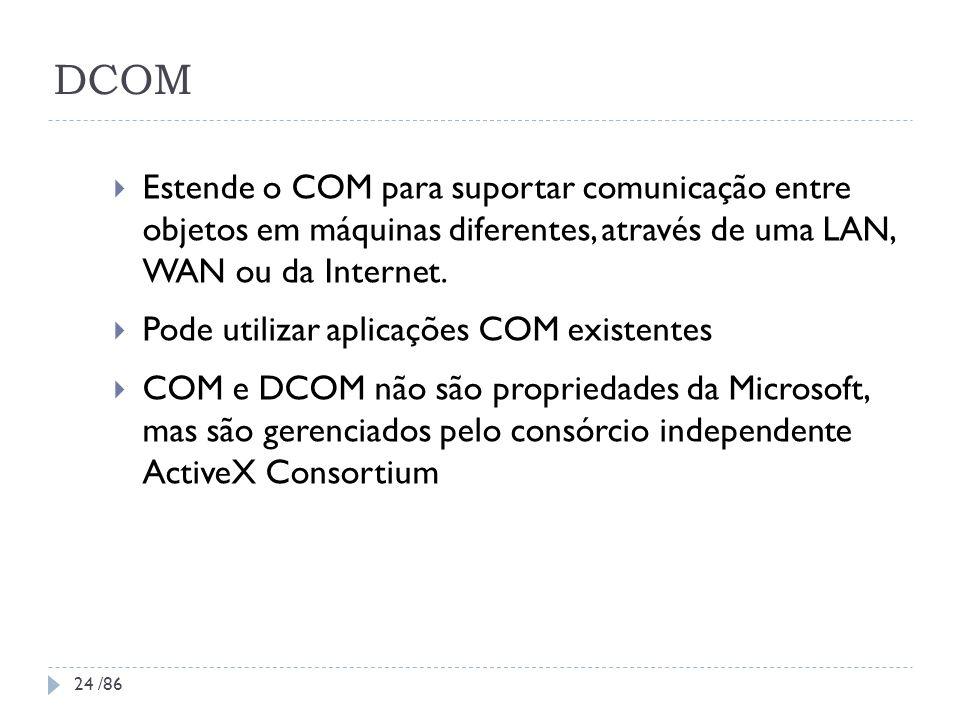 DCOM Estende o COM para suportar comunicação entre objetos em máquinas diferentes, através de uma LAN, WAN ou da Internet.