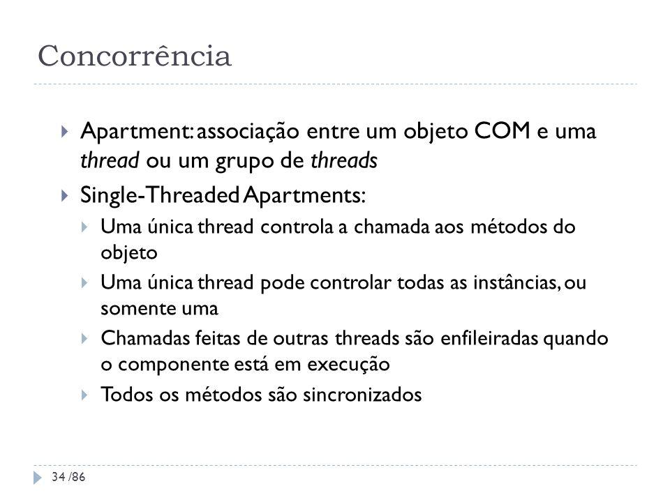 Concorrência Apartment: associação entre um objeto COM e uma thread ou um grupo de threads. Single-Threaded Apartments: