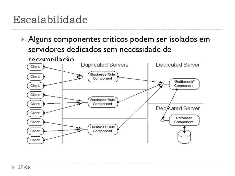 Escalabilidade Alguns componentes críticos podem ser isolados em servidores dedicados sem necessidade de recompilação.