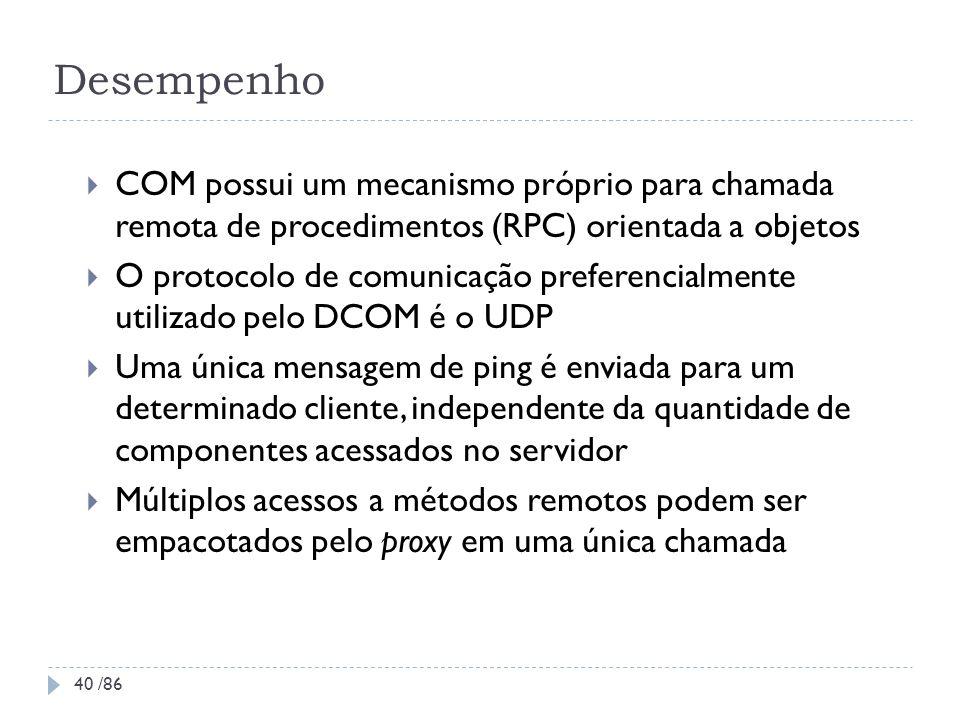 Desempenho COM possui um mecanismo próprio para chamada remota de procedimentos (RPC) orientada a objetos.