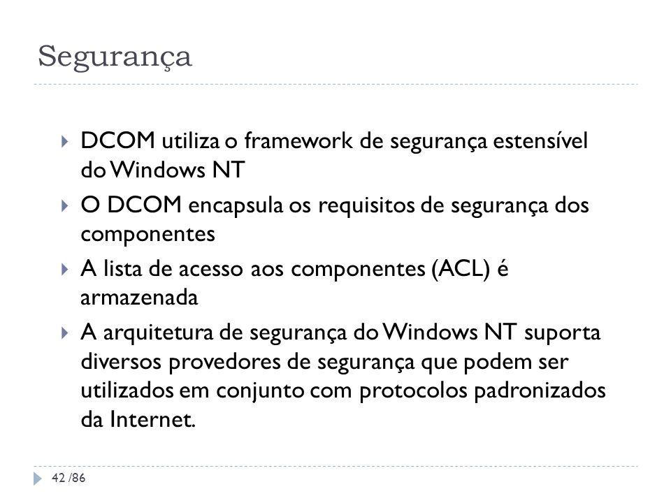 SegurançaDCOM utiliza o framework de segurança estensível do Windows NT. O DCOM encapsula os requisitos de segurança dos componentes.
