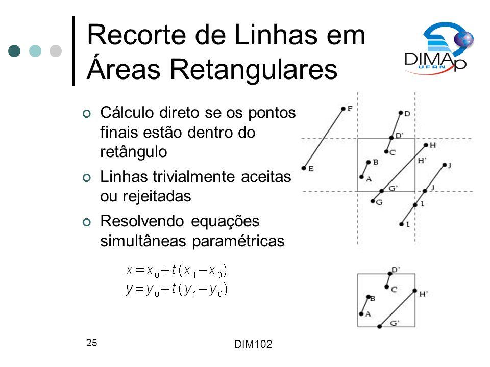 Recorte de Linhas em Áreas Retangulares