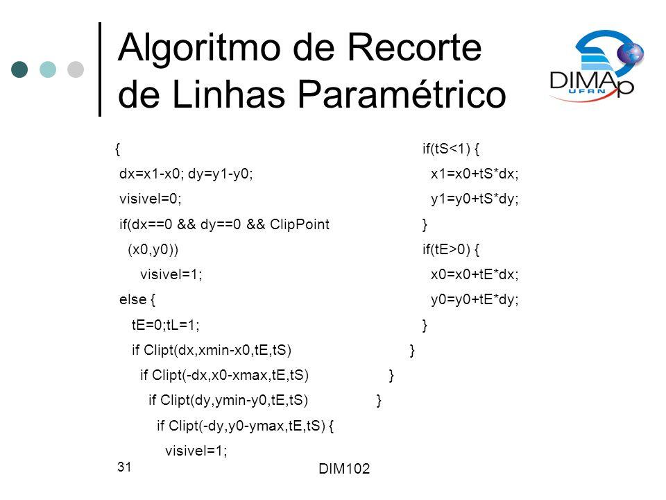 Algoritmo de Recorte de Linhas Paramétrico