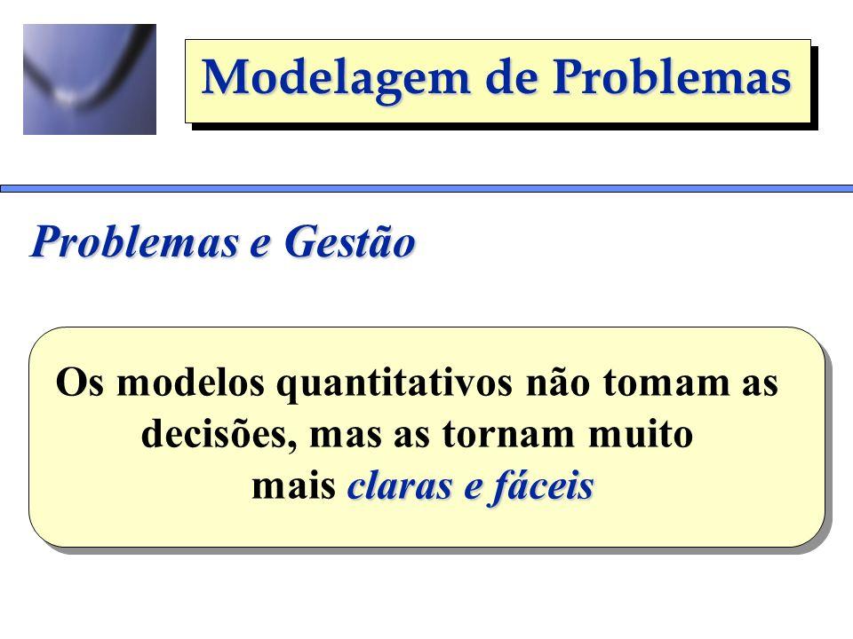 Os modelos quantitativos não tomam as decisões, mas as tornam muito