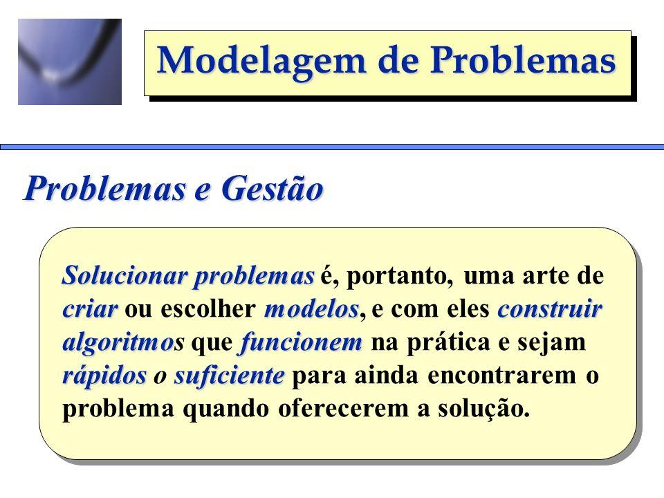 Problemas e Gestão Solucionar problemas é, portanto, uma arte de