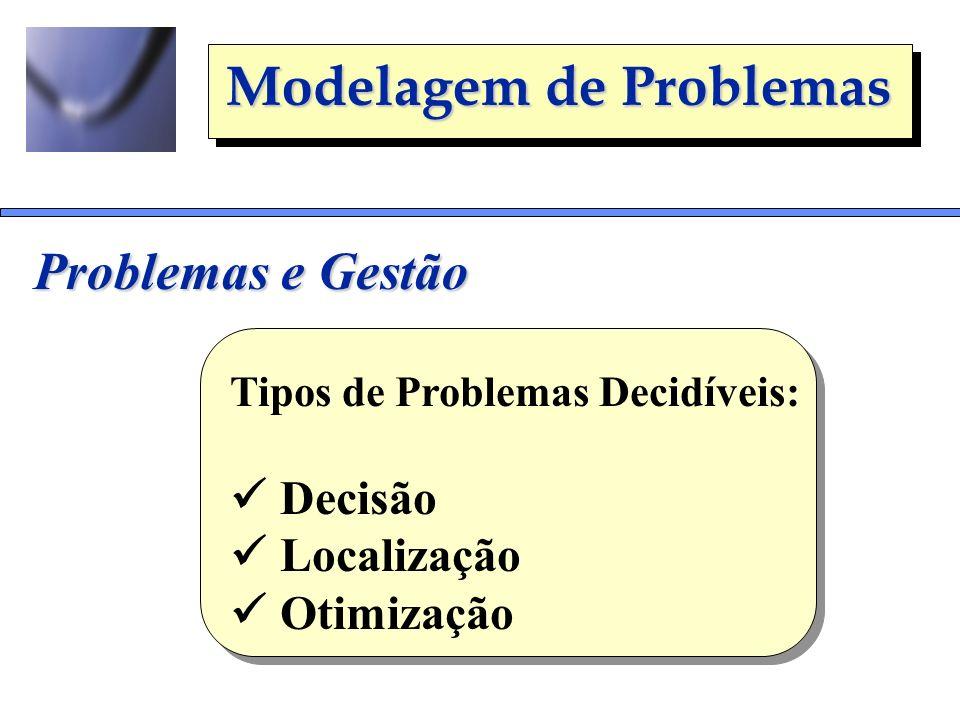Problemas e Gestão  Decisão  Localização  Otimização