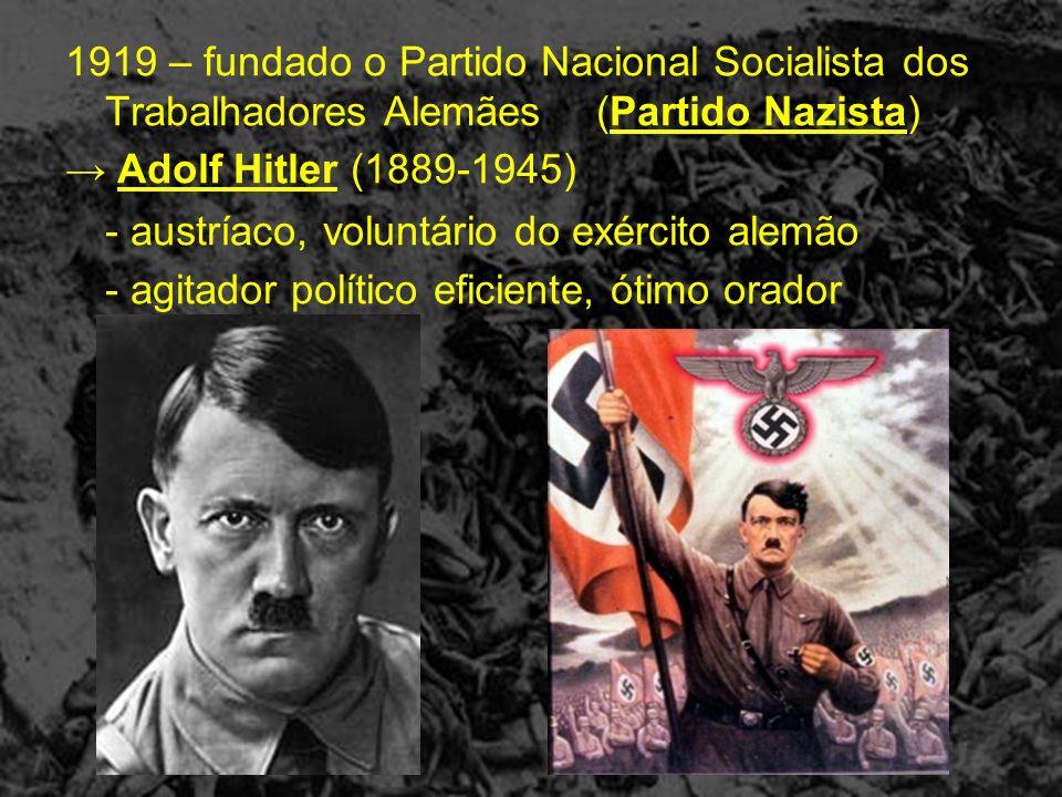 1919 – fundado o Partido Nacional Socialista dos Trabalhadores Alemães