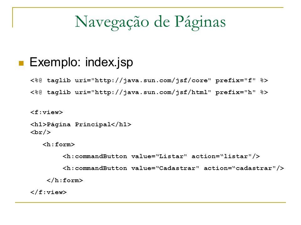 Navegação de Páginas Exemplo: index.jsp