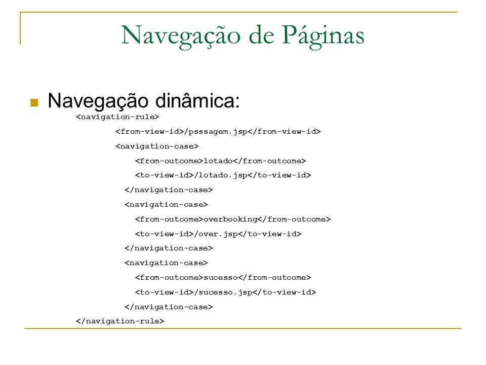 Navegação de Páginas Navegação dinâmica: <navigation-rule>