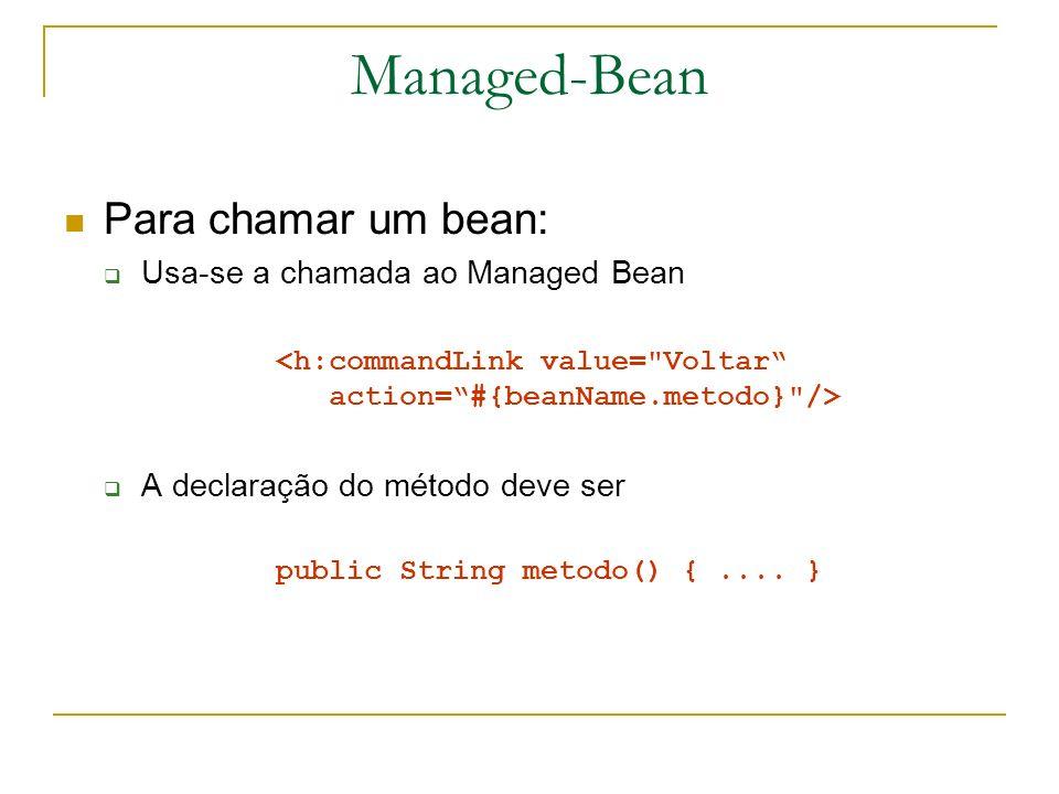 Managed-Bean Para chamar um bean: Usa-se a chamada ao Managed Bean