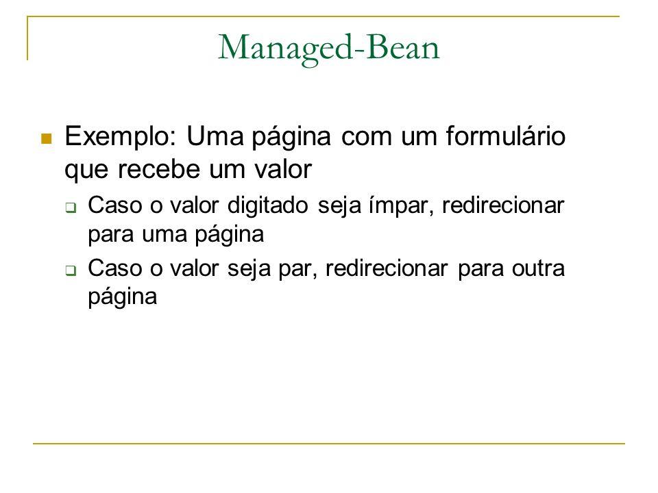 Managed-Bean Exemplo: Uma página com um formulário que recebe um valor