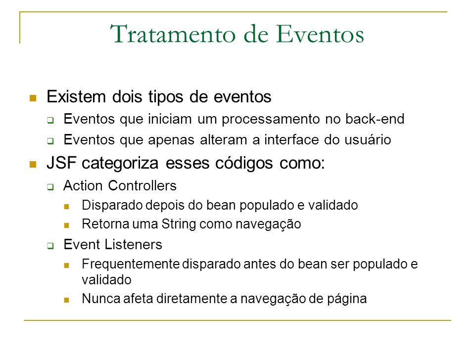 Tratamento de Eventos Existem dois tipos de eventos