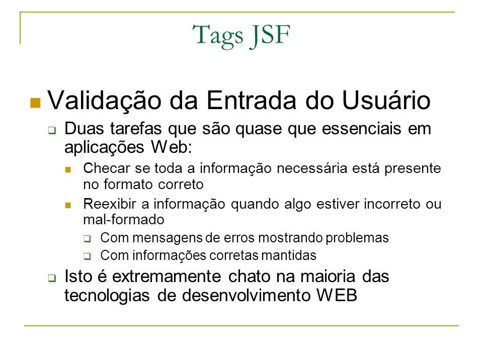 Tags JSF Validação da Entrada do Usuário