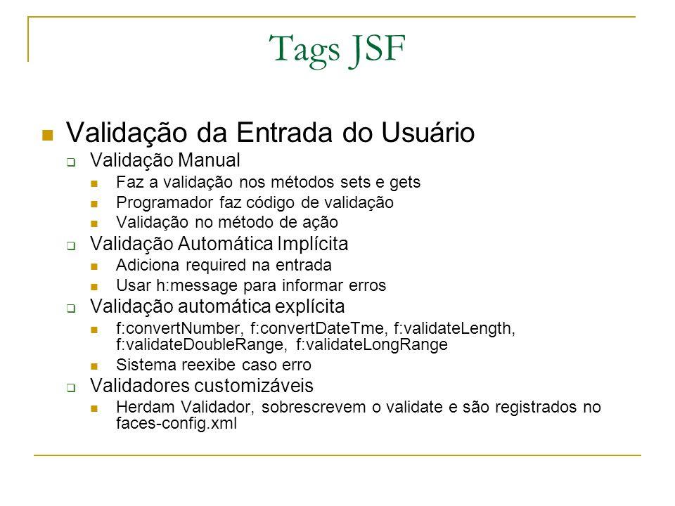 Tags JSF Validação da Entrada do Usuário Validação Manual