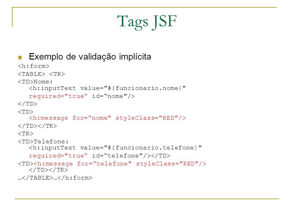 Tags JSF Exemplo de validação implícita <h:form>