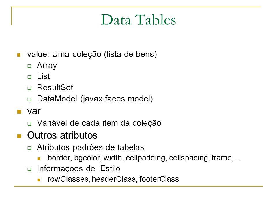 Data Tables var Outros atributos value: Uma coleção (lista de bens)