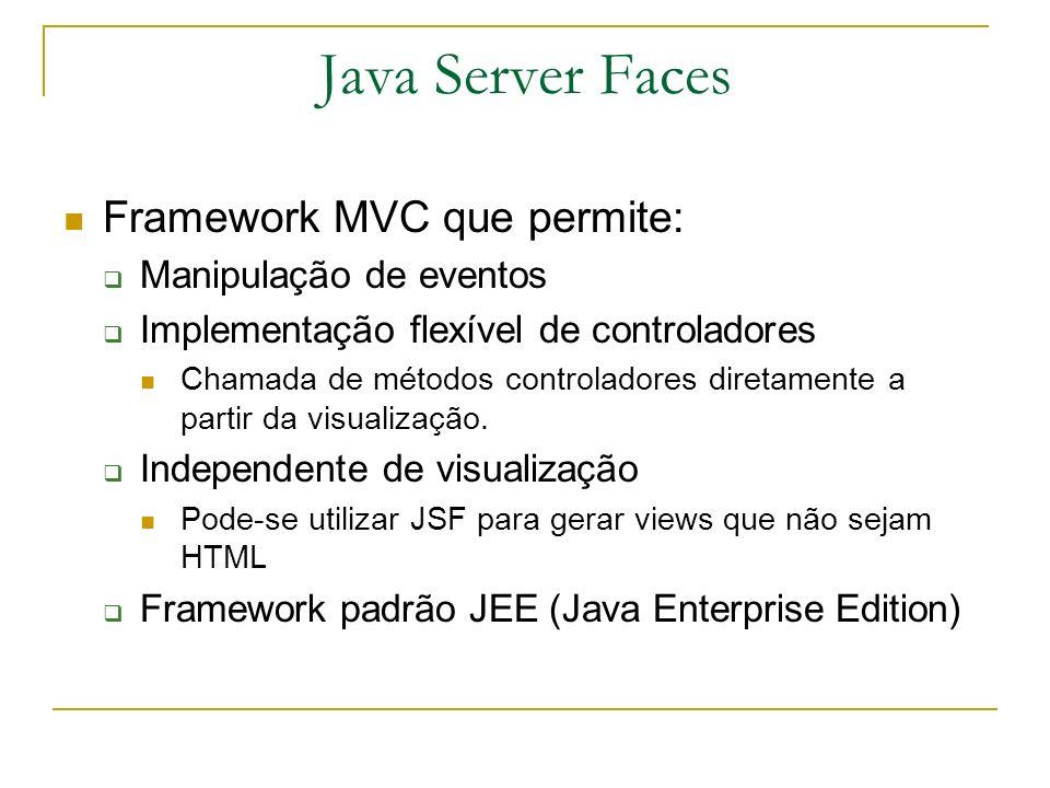 Java Server Faces Framework MVC que permite: Manipulação de eventos