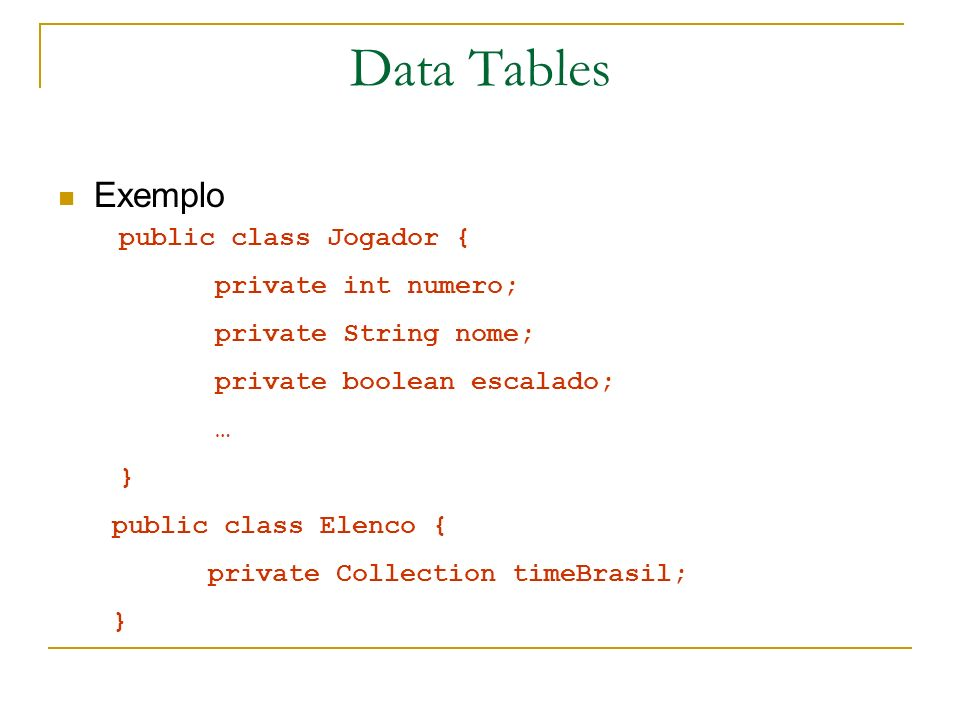 Data Tables Exemplo public class Jogador { private int numero;