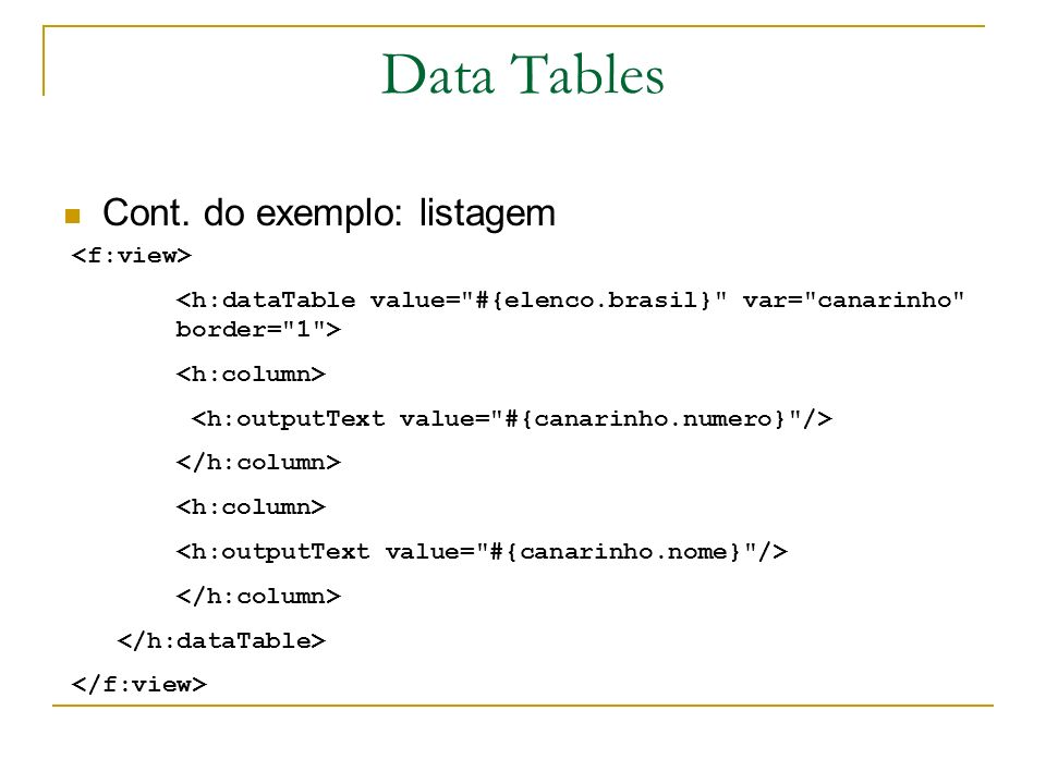 Data Tables Cont. do exemplo: listagem <f:view>