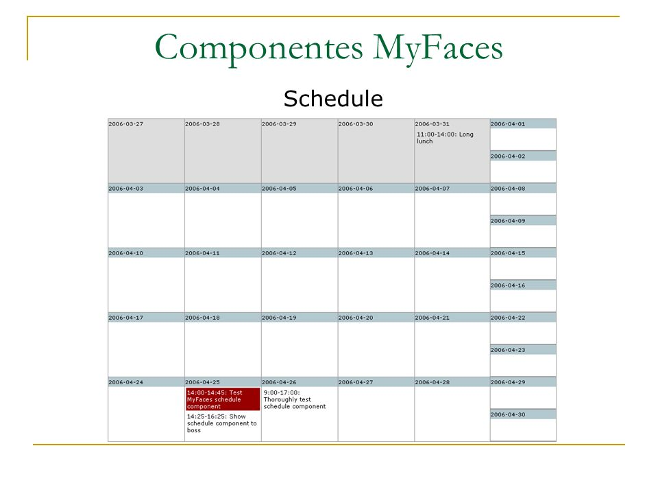 Componentes MyFaces Schedule