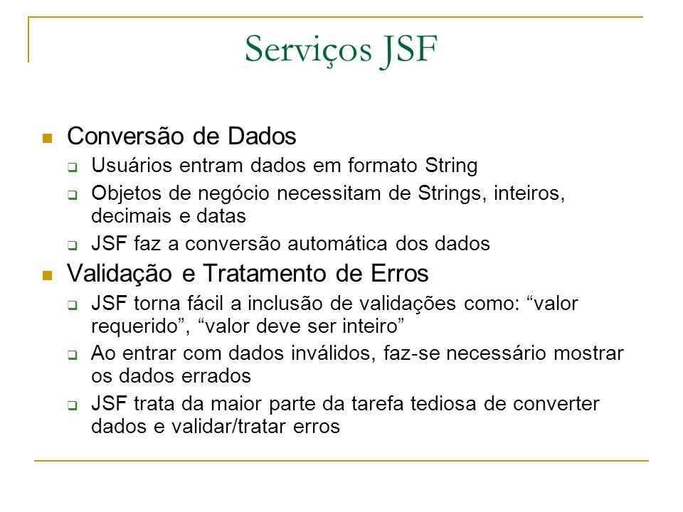 Serviços JSF Conversão de Dados Validação e Tratamento de Erros