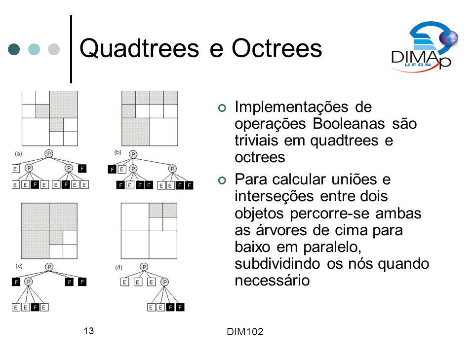 Quadtrees e Octrees Implementações de operações Booleanas são triviais em quadtrees e octrees.
