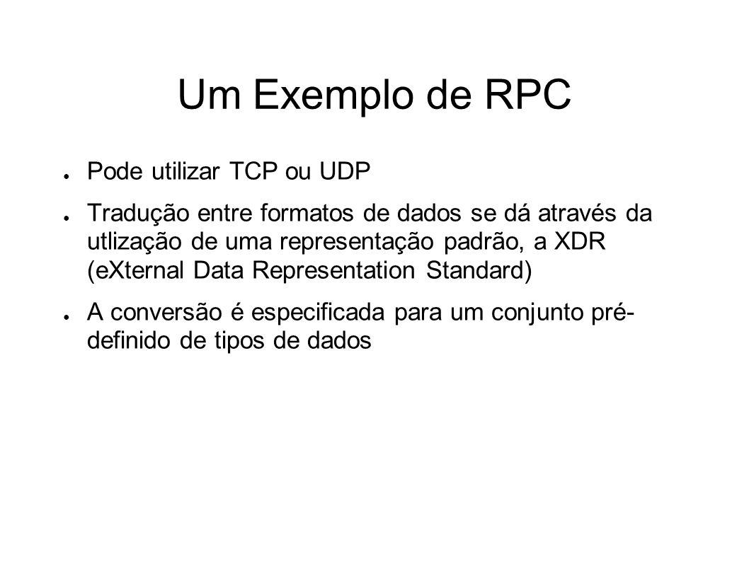Um Exemplo de RPC Pode utilizar TCP ou UDP