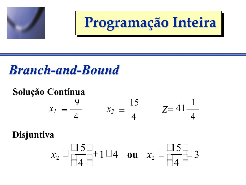 Branch-and-Bound 4 1 15 ³ + ú û ê ë x 3 4 15 £ ú û ê ë x ou