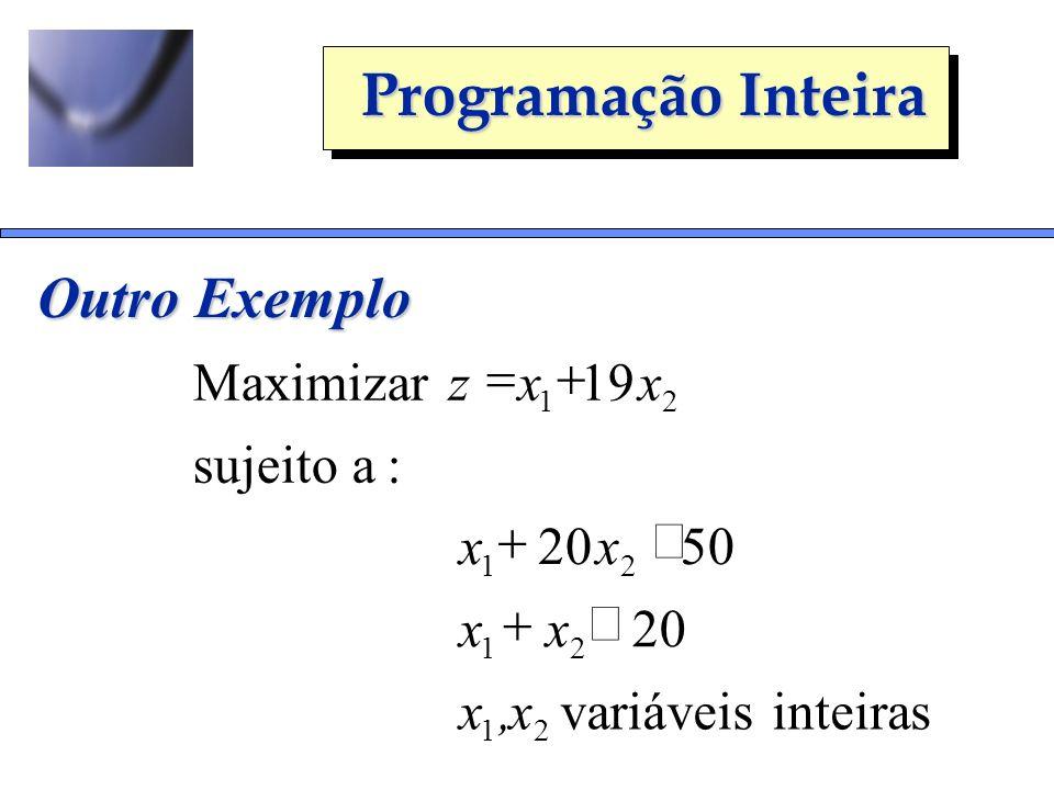 Outro Exemplo = + Maximizar z x 19 x sujeito a : + £ x 20 x 50 x + x £