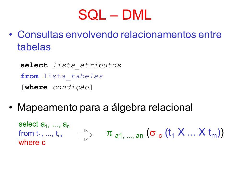 SQL – DML Consultas envolvendo relacionamentos entre tabelas