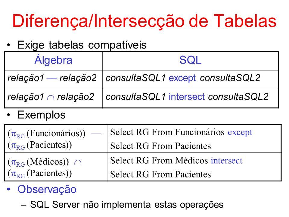 Diferença/Intersecção de Tabelas
