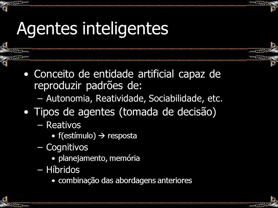 Agentes inteligentes Conceito de entidade artificial capaz de reproduzir padrões de: Autonomia, Reatividade, Sociabilidade, etc.