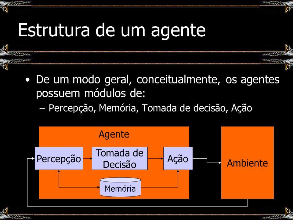 Estrutura de um agente De um modo geral, conceitualmente, os agentes possuem módulos de: Percepção, Memória, Tomada de decisão, Ação.