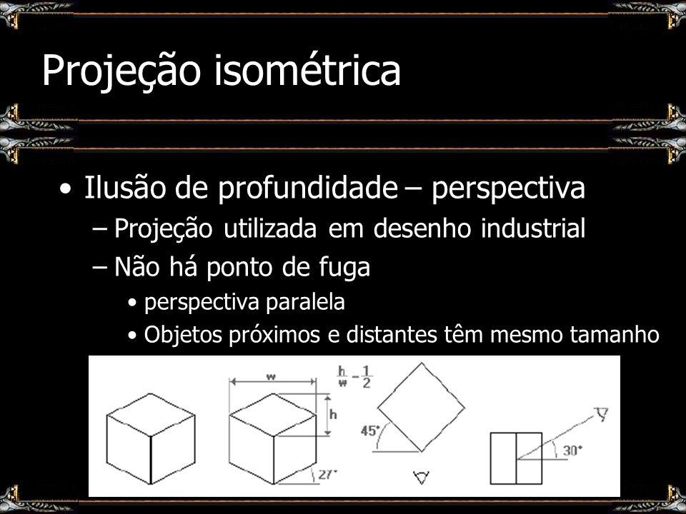 Projeção isométrica Ilusão de profundidade – perspectiva
