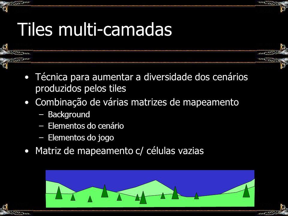 Tiles multi-camadas Técnica para aumentar a diversidade dos cenários produzidos pelos tiles. Combinação de várias matrizes de mapeamento.