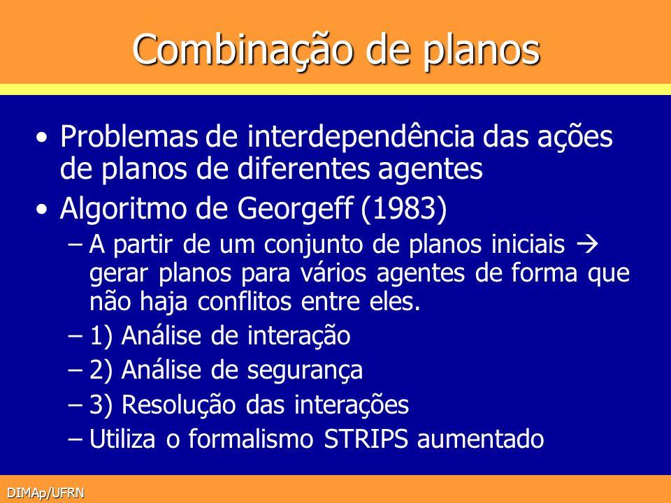 Combinação de planos Problemas de interdependência das ações de planos de diferentes agentes. Algoritmo de Georgeff (1983)