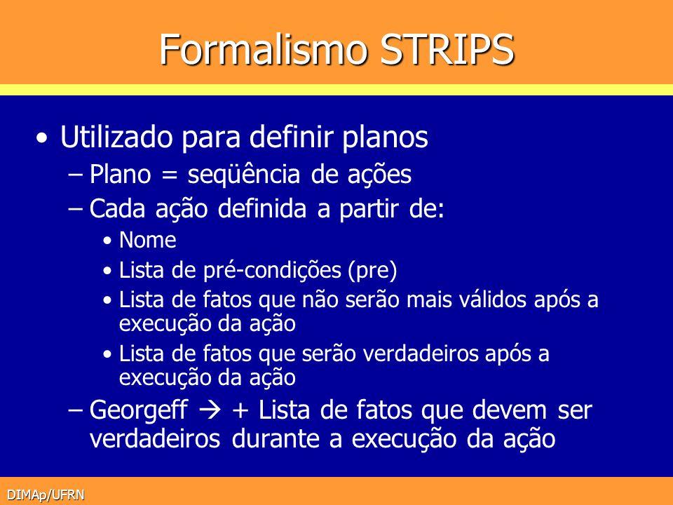Formalismo STRIPS Utilizado para definir planos