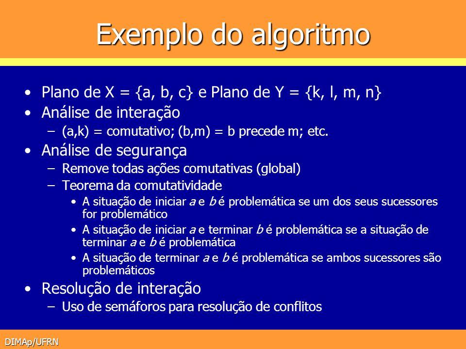 Exemplo do algoritmo Plano de X = {a, b, c} e Plano de Y = {k, l, m, n} Análise de interação. (a,k) = comutativo; (b,m) = b precede m; etc.