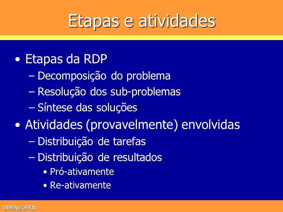 Etapas e atividades Etapas da RDP
