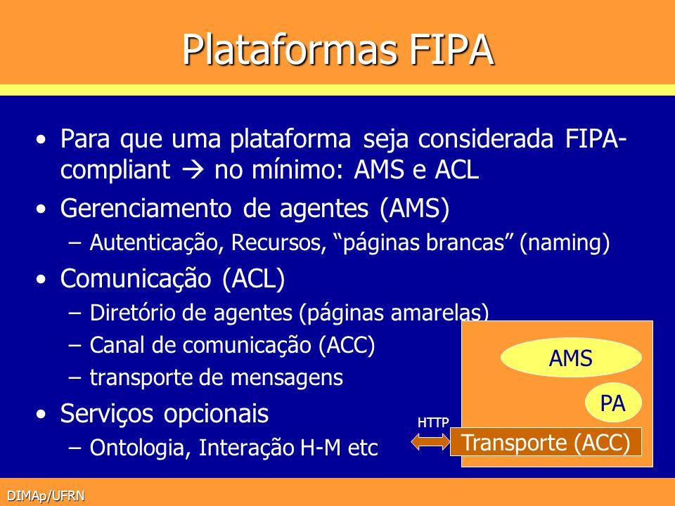 Plataformas FIPA Para que uma plataforma seja considerada FIPA-compliant  no mínimo: AMS e ACL. Gerenciamento de agentes (AMS)